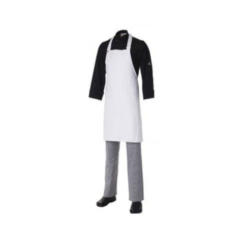 Bib Apron Heavyweight Cotton White (with pocket)
