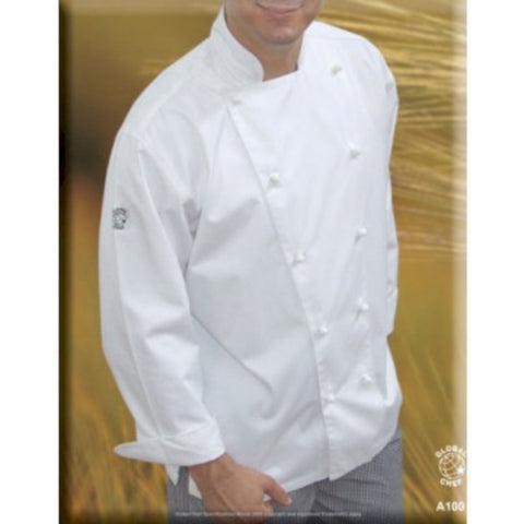 White Long Sleeve Chef Jacket- Global Chef