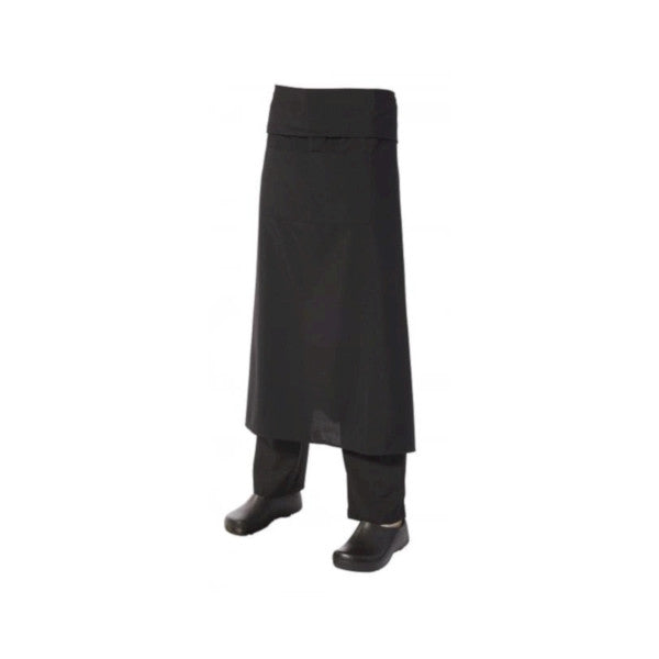 Long Apron with Pocket + Flap Black Poly/Viscose
