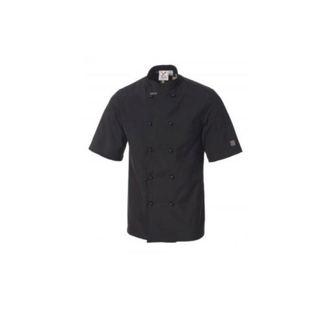 Traditional  Short Sleeves Chef Jacket in Black - Ray Uniforms
