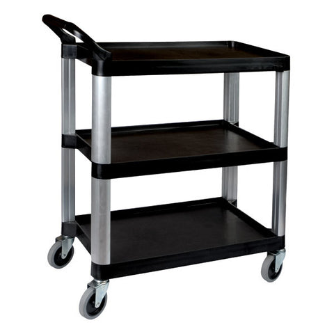 Sunnex 3 Shelf Black Plastic Utility Trolley 800 x 380 x 880mm