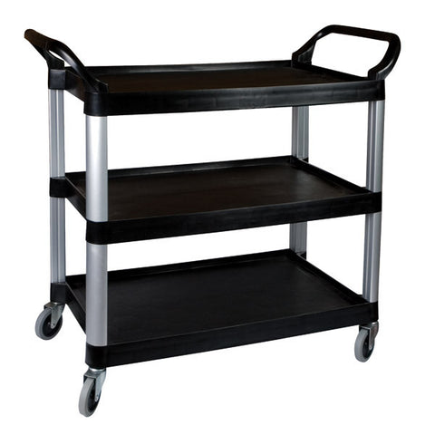 Sunnex 3 Shelf Black Plastic Utility Trolley 1060 x 480 x 1000mm