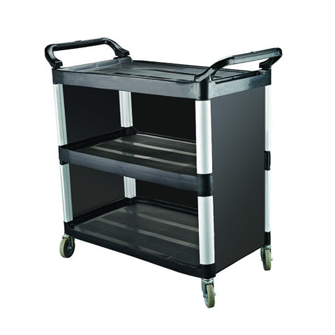 Caterrax 3 Shelf Closed Sides Black Plastic Utility Trolley 1020 x 500 x 960mm
