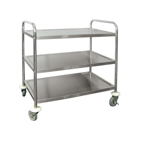 "3 Shelf Serving Trolley - Stainless Steel Extra Heavy Duty 5"" Casters 2 Brake Casters 2 Swivel Casters 710x405x825mm"