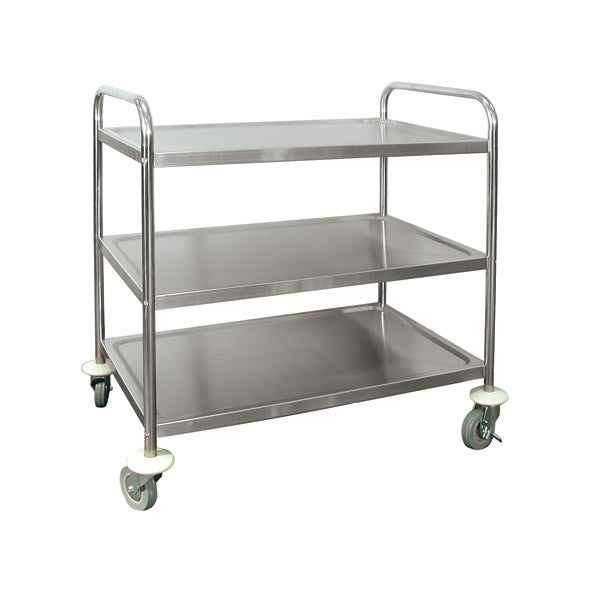 "3 Shelf Serving Trolley - Stainless Steel Extra Heavy Duty 5"" Casters 2 Brake Casters 2 Swivel Casters 810x455x855mm"