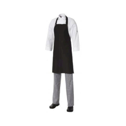 Bib Apron Lightweight Cotton Black (with pocket)