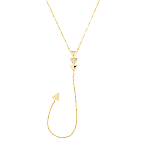 Pave Triangle Y-Chain Necklace