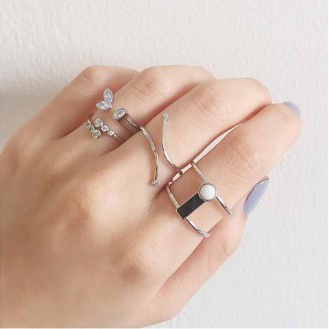 Silver Marble Block Ring
