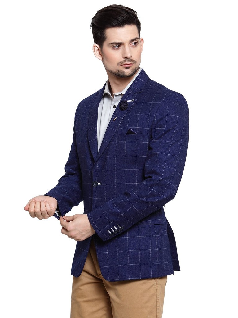 Mens 3 piece coat with check pattern waistcoat