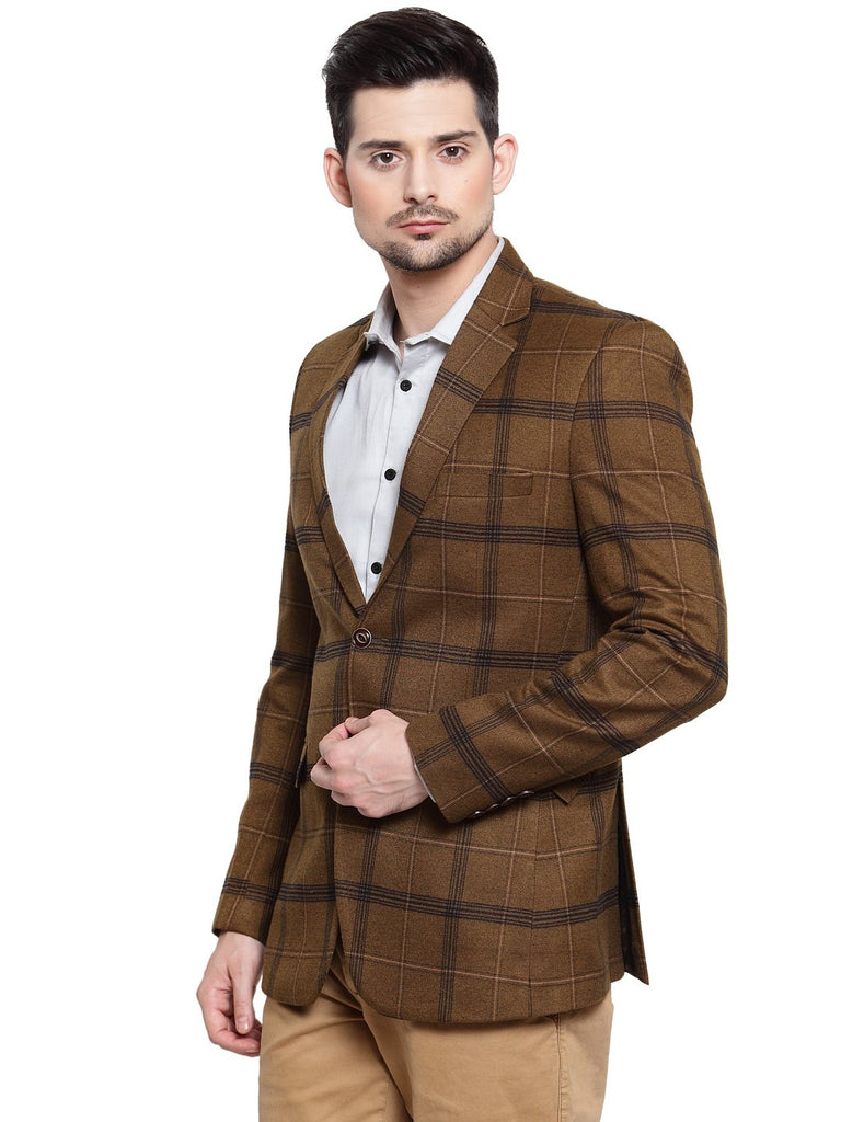 Mens designer check design business coat