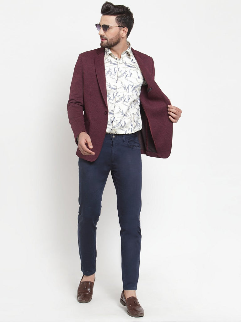 Dandy Tune Stretchable Wine Textured Blazer Coat Jacket