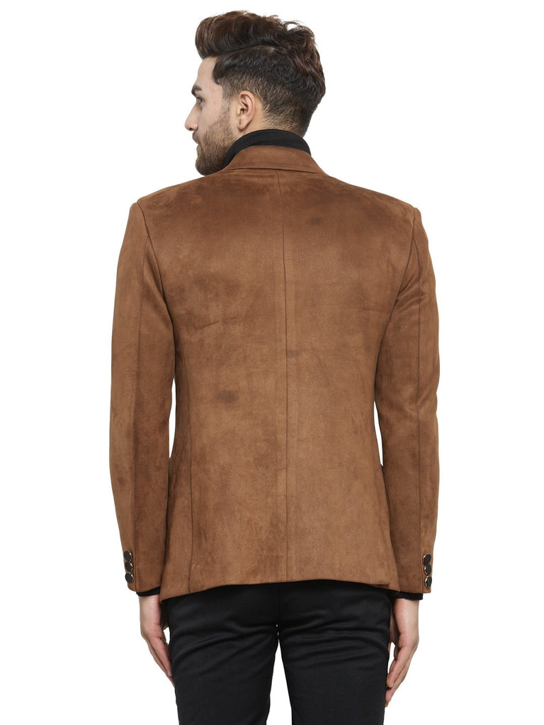 THE RETROSCOPIC BROWN SUEDE MEN'S COAT BLAZER JACKET