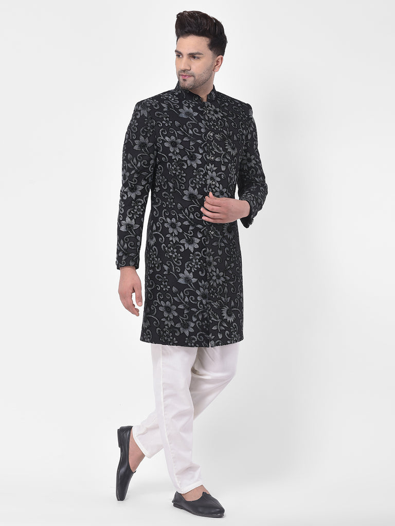 Men Black Embroidered Indo-Western Coat With Payjama