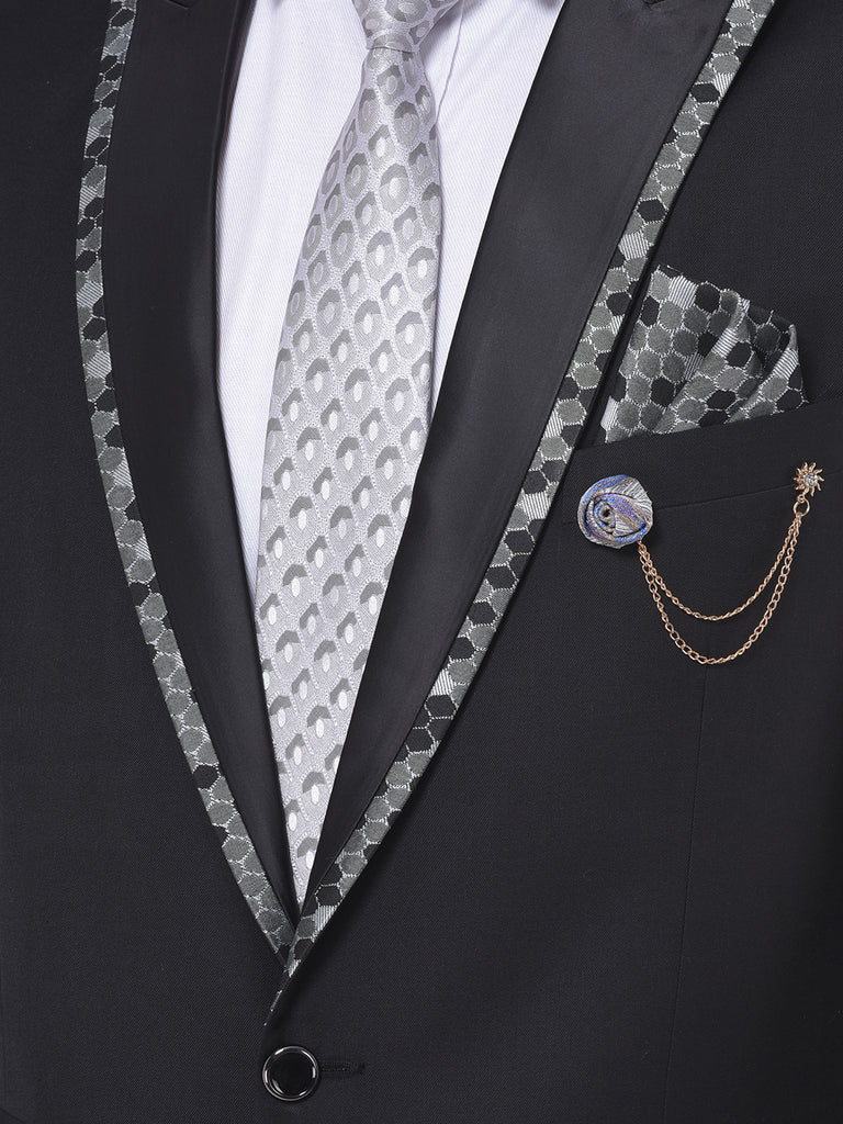 Solid Black and Grey Tuxedo Party wear Two-Piece Suit Set