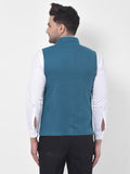 Prussian Blue Waist Coat Nehru Jacket