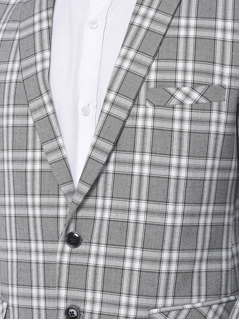 White and Grey Check Slim-Fit Single-Breasted Coat Blazer Jacket