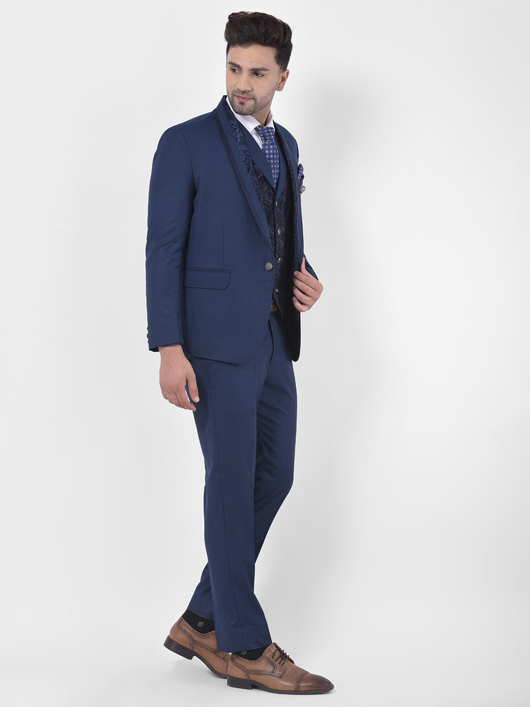 Solid Blue Single Breasted Three-Piece Tuxedo