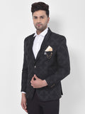 Black Jacquard Shawl Collar Single Breasted Slim-Fit Coat Blazer Jacket