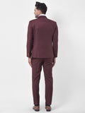 Solid Wine Single Breasted Two-Piece Suit