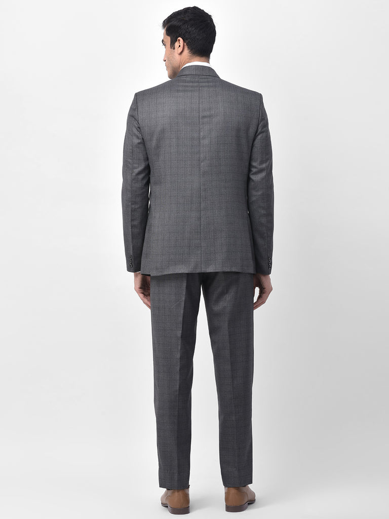 JHampstead's Princely Grey Checkered Men's 3 Piece Formal Suit