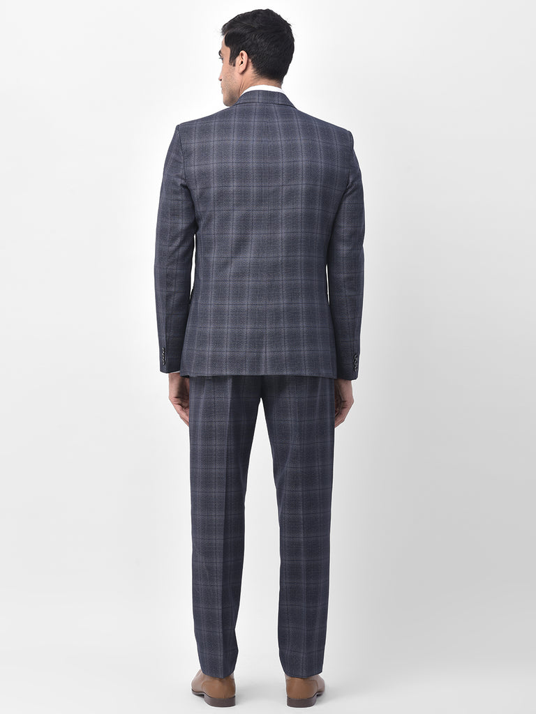 Men's Fossil Blue Checkered 3 Piece Suit