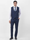 Misty Blue Shawl Collar 3 Piece Party wear Suit