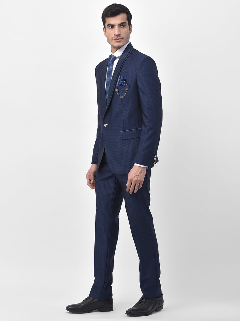 Misty Blue Shawl Collar 2 Piece Partywear Suit