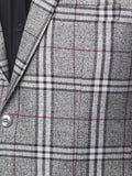 Contemporary Men's Grey Checkered Tailored Fit Blazer