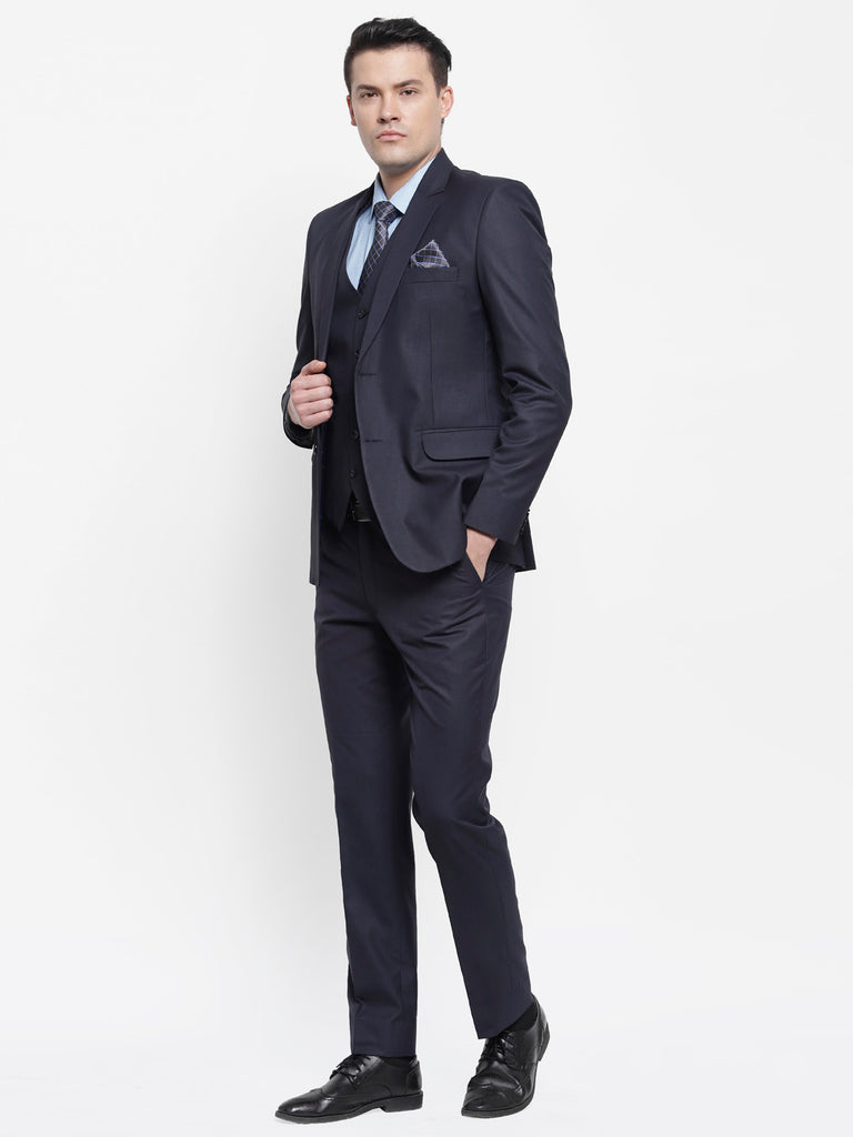 Solid Formal Navy Blue Raymonds Mens 3 piece suit