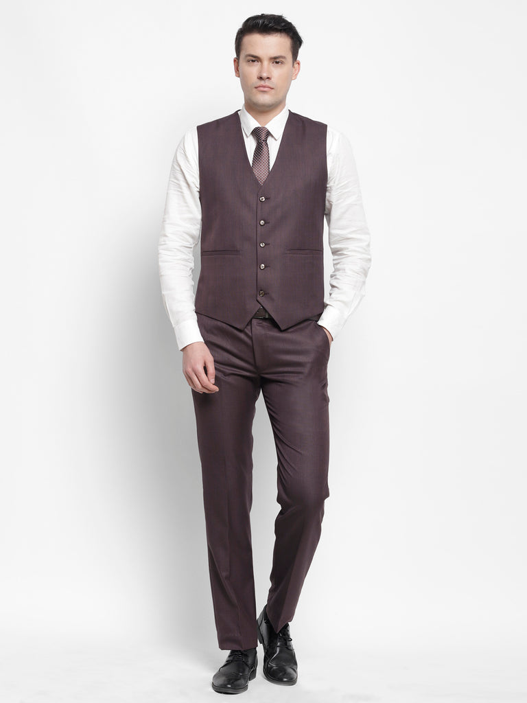 Royal Wine Check Mens Formal 3 Piece Suit