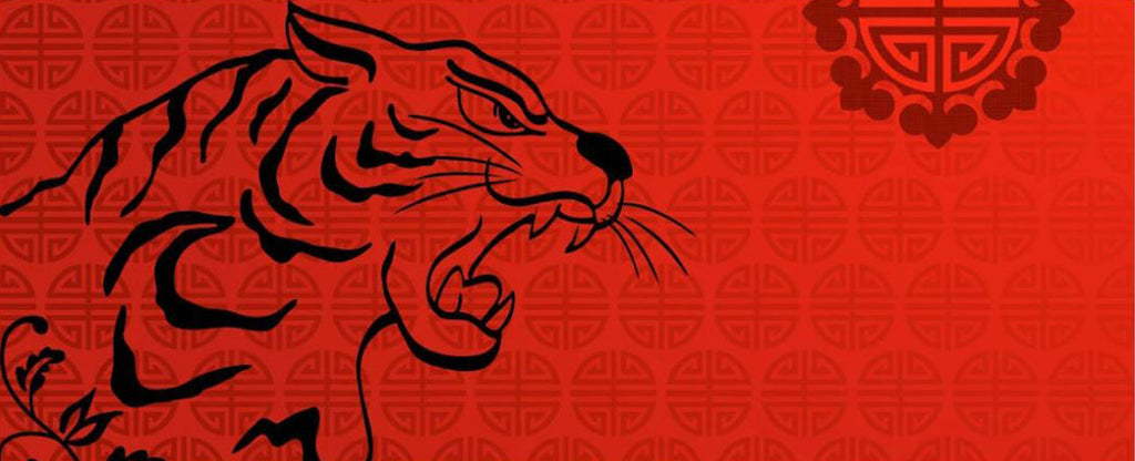 angry tiger in chinese theme