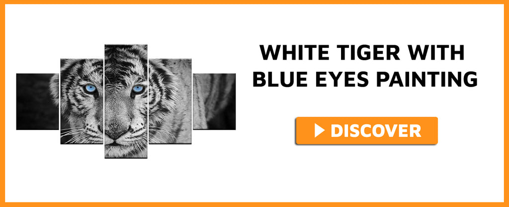WHITE TIGER WITH BLUE EYES PAINTING