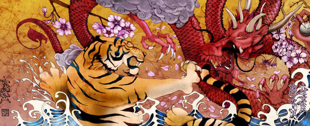 tiger with monsters