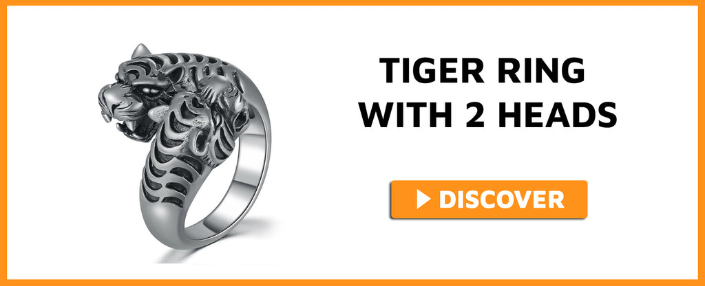 TIGER RING WITH 2 HEADS