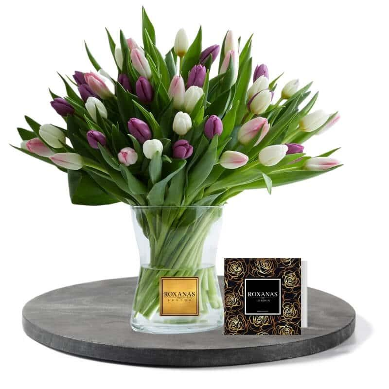White and purple tulips flower delivery