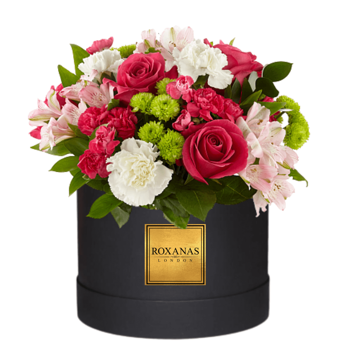 Pink rose and white flower hat box delivery