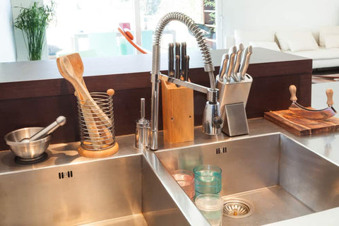 types of kitchen sinks and faucets