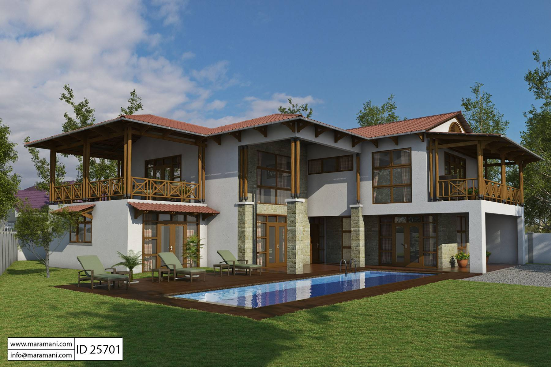Bali style house with 5 bedrooms id 25701 house plans for Five bedroom house