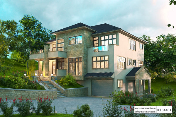 Hillside House Plan with Garage underneath - ID 34401 - Maramani.com