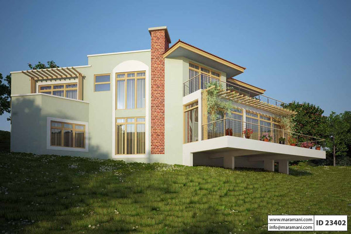 Steep Slope House Plan with 3 bedrooms - ID 23402 - Maramani.com