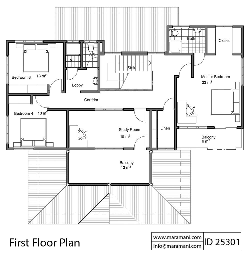 Five Bedrooms House Plan