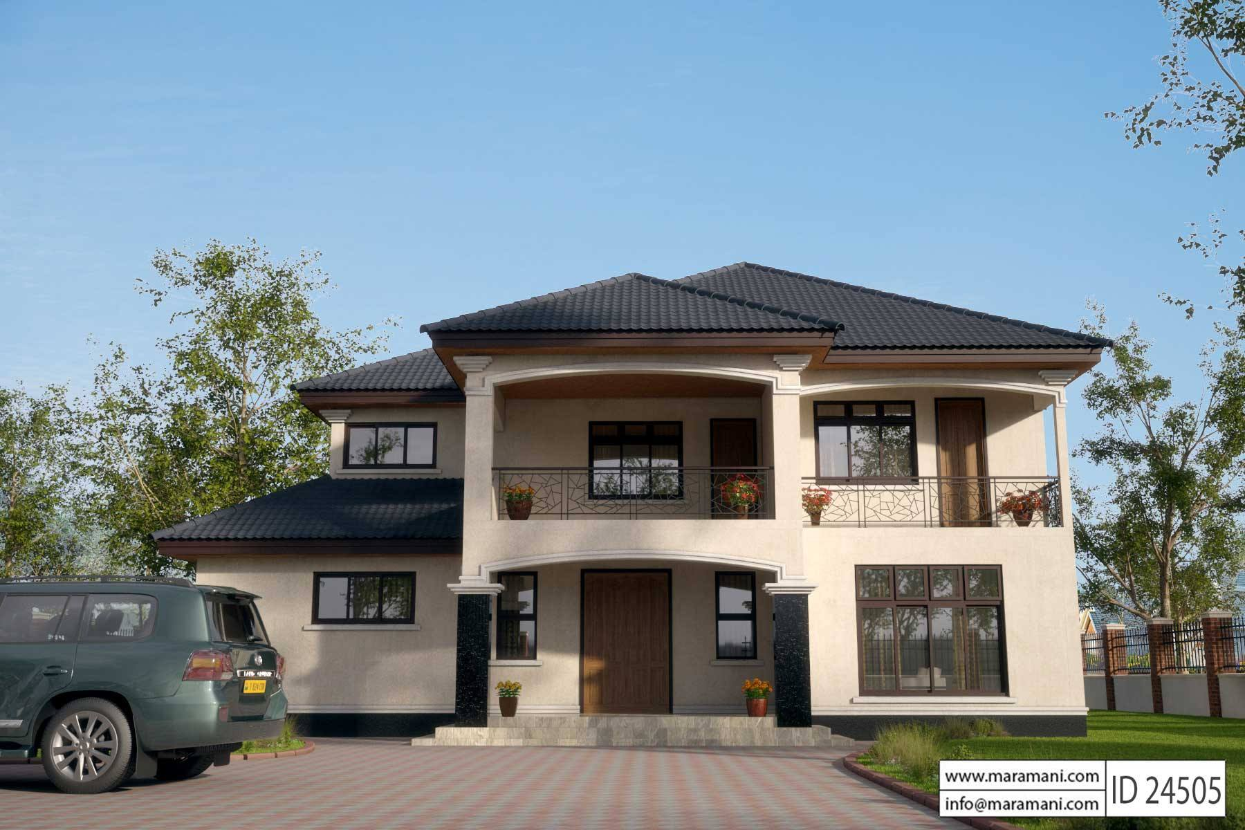 Beautiful African House Plans #4: 4 Bedroom House Plan - ID 24505