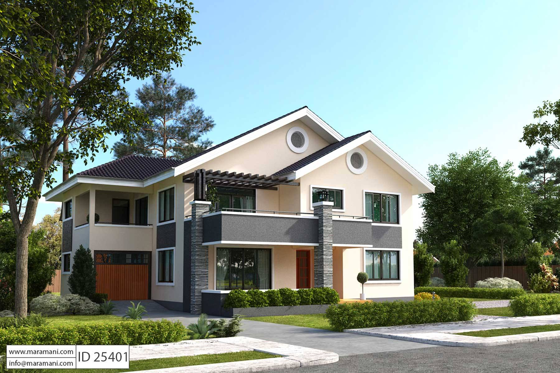 5 bedroom house plan id 25401 floor plans by maramani for Looking for a 4 bedroom