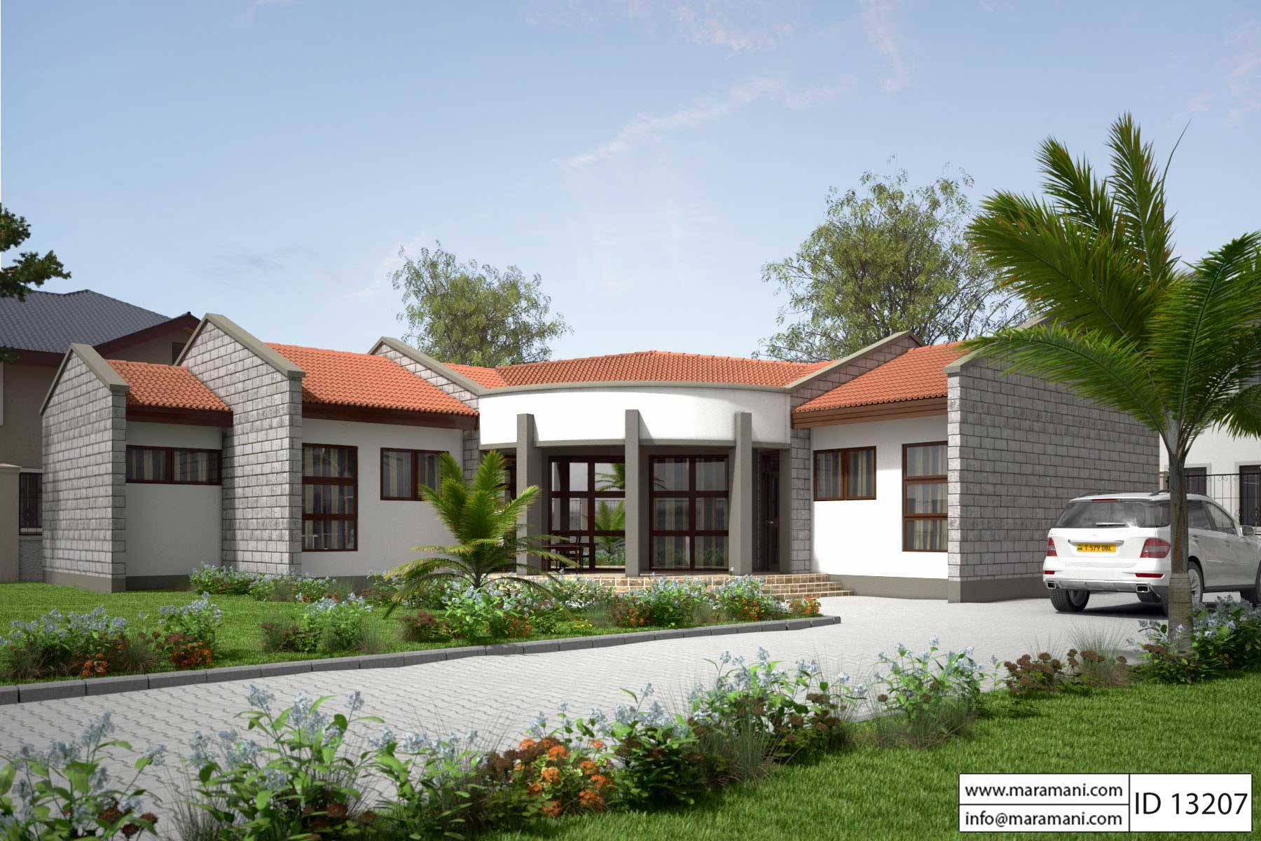 Low budget modern 3 bedroom house design id 13207 for Single story 4 bedroom modern house plans