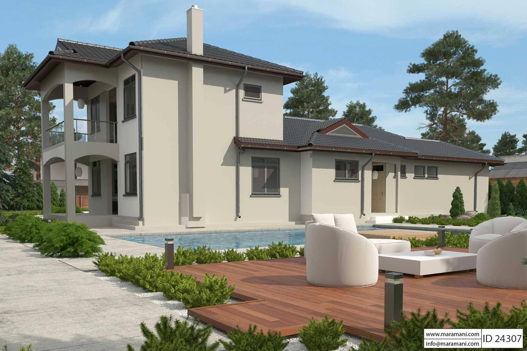 Home with First Floor Master Bedroom - ID 24307 - Plans by Maramani