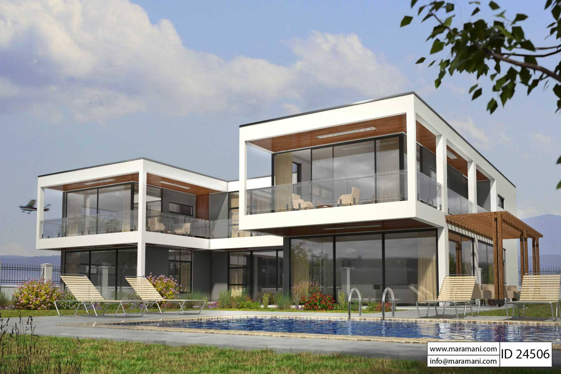 modern glass house plan