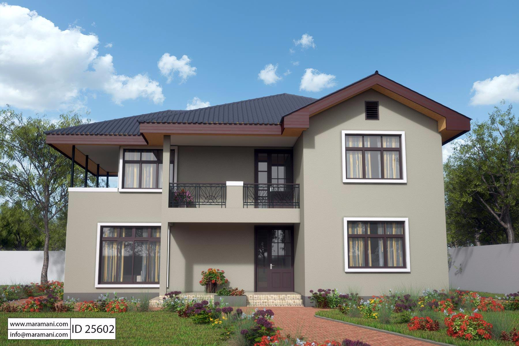 5 bedroom house design id 25602 house plans by maramani for Floor plans 5 bedroom house