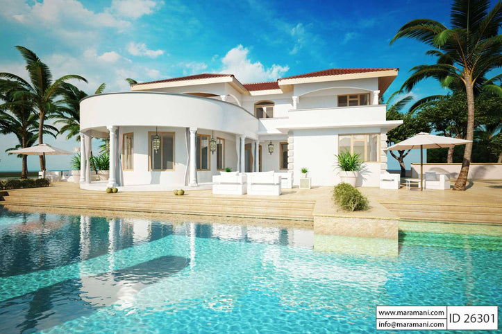 2 story house with pool - ID 26301 - House Plans by Maramani