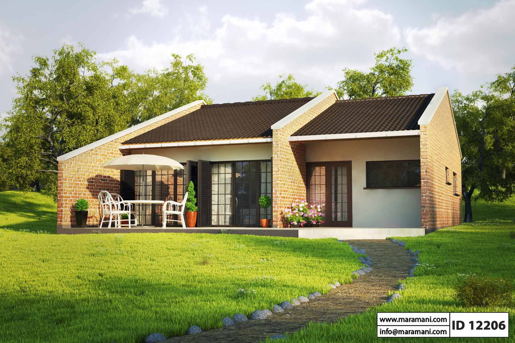 Small brick house design id 12206 house plans by maramani for Two bedroom house