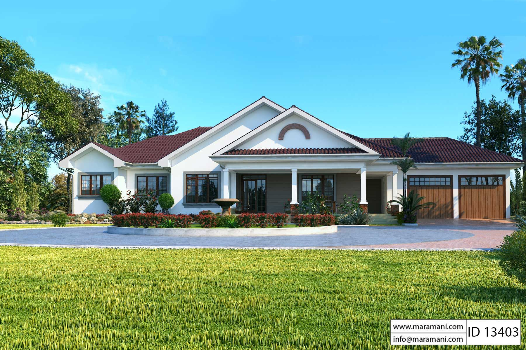 3 Bedroom bungalow with garage - ID 13403 - House Plans by Maramani